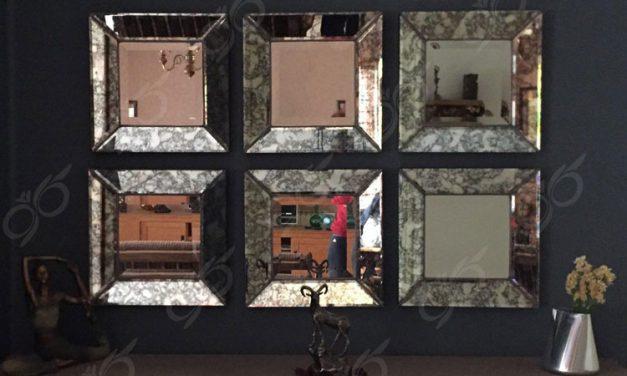 آینه آنتیک مربعی – محصولی سفارشی، هنری و دست ساز برای دکور فضاهای لوکس