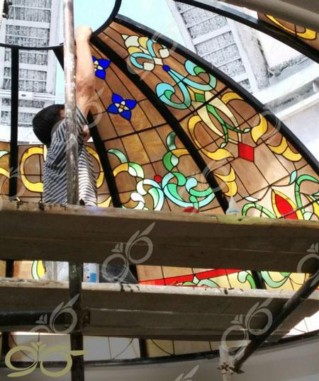 گنبد شیشه ای ارومیه - تکنیک ساخت استین گلاس