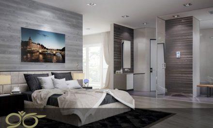 حمام شیشه ای اختصاصی در اتاق خواب