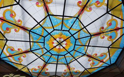 سقف نورگیر شیشه ای 8 ضلعی ساری با شیشه های تزئینی + فیلم