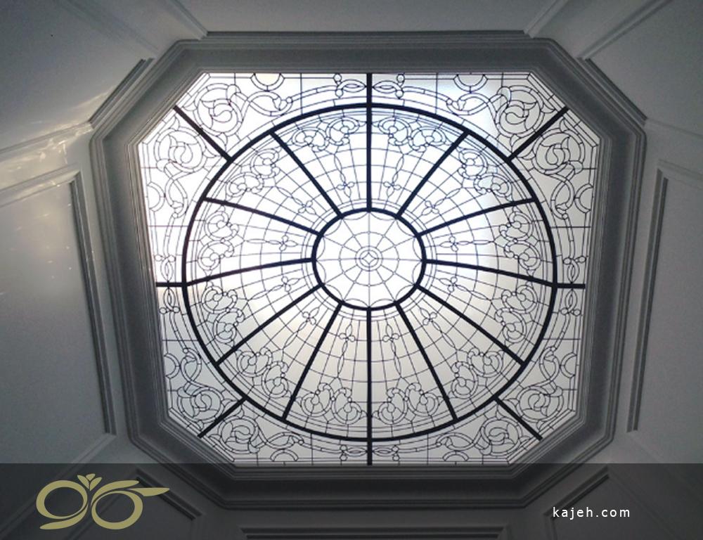 گنبد شیشه ای استیند گلس با حاشیه ی سقف نورگیر شیشه ای