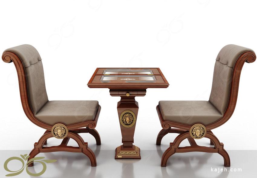 نیم ست شطرنج و تخته نرد ; دست ساز و ساخته شده از چوب طبیعی راش