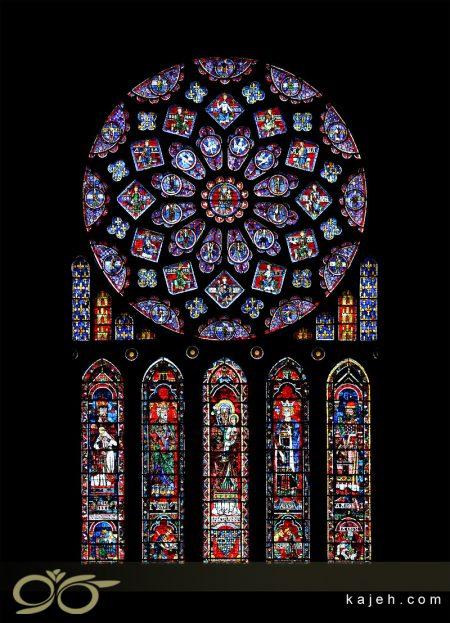 تاریخچه تیفانی - پنجره رز از کلیسای جامع کارتر فرانسه