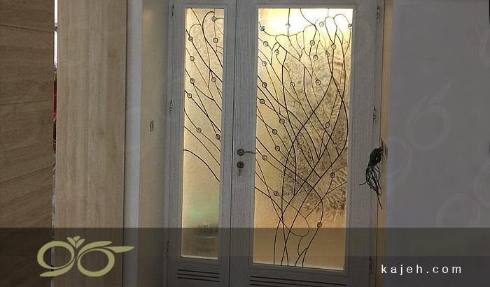ساخت درب شیشه ای تزئینی تیفانی در کارگاه کاژه