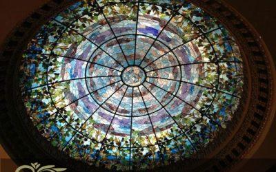 گنبد شیشه ای با تکنیک استین گلس تیفانی برای اماکن لوکس