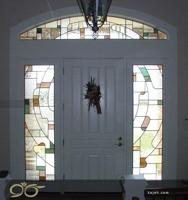 شیشه تزیینی طرح دار برای درب لابی و ورودی ساختمان
