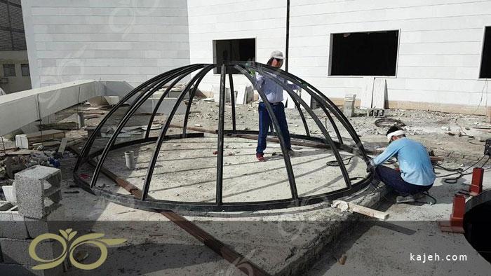 گنبد شیشه ای هتل دلفین چابهار - تکنیک ساخت ( استین گلس - تیفانی )