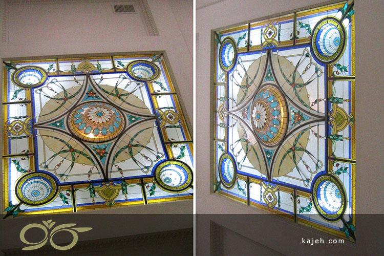 سقف نورگیر شیشه تزئینی (استین گلس)