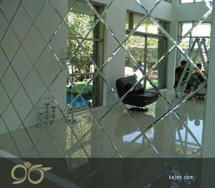 صفر تا صد مراحل سفارش تا نصب آینه های دکوراتیو ( نحوه چسباندن آینه پازلی روی دیوار ) + فیلم