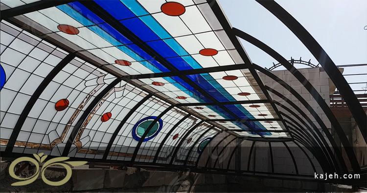 گنبدی شیشه ای و سقف نورگیر بزرگ مجتمع تجاری فیروزه بازار نادری اهواز