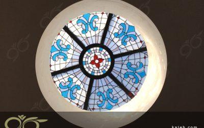 گنبد شیشه ای فیروزه نشان ساری ; ساخت با شیشه های استین گلاس
