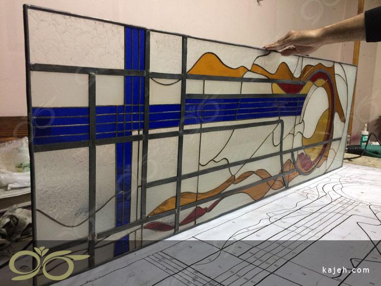 ساخت شیشه های تیفانی با طرح انتزاعی