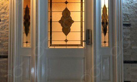 شیشه درب ورودی دکوراتیو ; ساخت شیشه درب ورودی ۳ لنگه استین گلس ( استیند گلس )