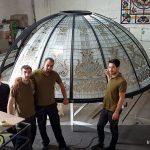 گنبد شیشه ای مجلس قطر ; ساخت و تست نصب گنبد شیشه ای قطر در کارگاه کاژه