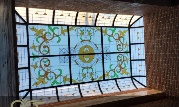 سقف نورگیر شیشه ای و دکوراتیو مجتمع آموزشی انرژی اتمی استان قزوین