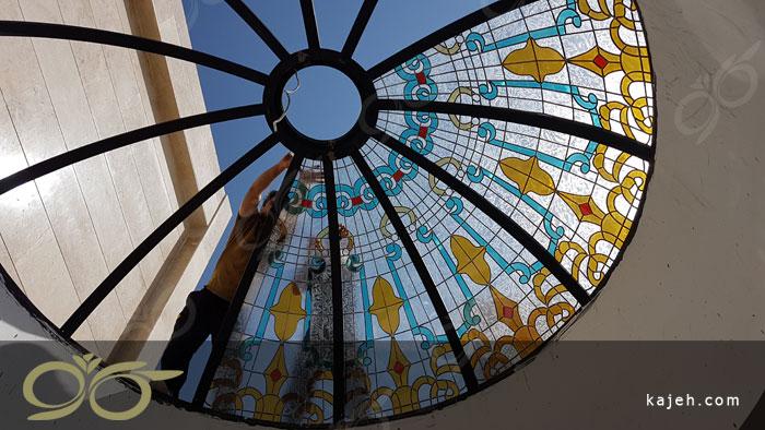 گنبد شیشه ای خیابان بهشتی تهران - سقف نورگیر گنبدی شکل با شیشه های تزئینی