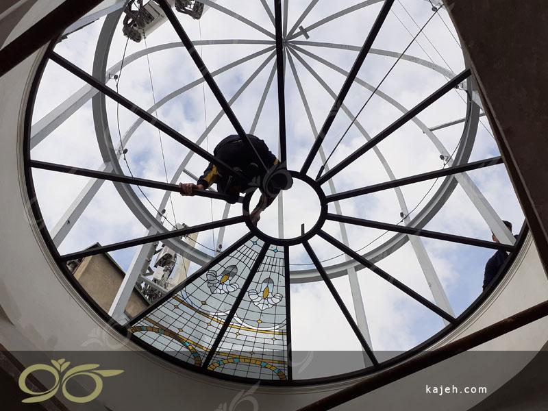 سقف نورگیر شیشه ای کامرانیه