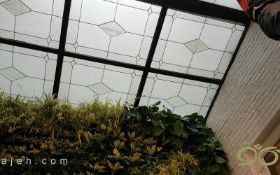 سقف پاسیو ; طراحی و ساخت سقف پاسیو با شیشه های تزئینی استین گلس + فیلم